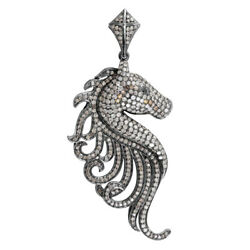 Halloween Day 4.6ct Pave Diamond See Horse Pendant Gold 925 Silver Jewelry