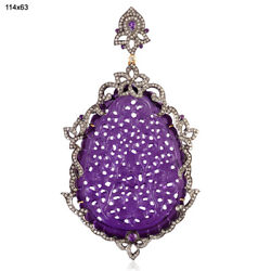 Carved Amethyst Pendant 18k Gold 925 Sterling Silver Diamond Jewelry Gift