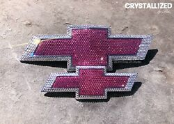 CRYSTALLIZED Any Size CHEVY Emblem Bowtie Bling Made w Swarovski Crystals Pink