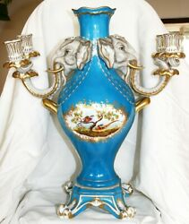 Old Herend Large Fireplace Vase With Candle Holder Elephants 1970's