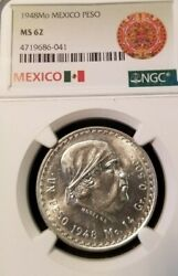 1948 Mexico Silver Un Peso Morelos Ngc Ms 62 Nice Luster Low Mintage Better Date