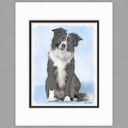 Border Collie Dog Original Art Print 8x10 Matted to 11x14
