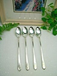 4 International Holmes And Edwards First Lady Silverplate Iced Tea Spoons 1933