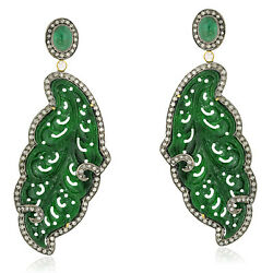 18k Gold 925 Silver 45.80ct Carved Jade Diamond Dangle Earrings Jewelry Gift