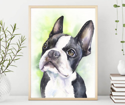 Boston Terrier puppy WatercolorDog Gift Funny dog Dog Mom Gift Rustic Home
