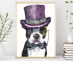 Boston Terrier  WatercolorFunny Dog Gift Funny dog Dog Mom Gift Rustic Home