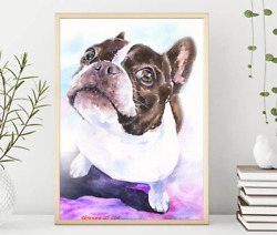 Boston Terrier  WatercolorDog Gift Funny dog Dog Mom Gift Rustic Home