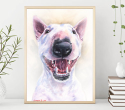 Bull Terrier Print WatercolorDog Gift Funny dog Dog Mom Gift Rustic Home