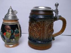 Rare Lot Of 2 Vintage West Western Germany Stein Mug Collectibles
