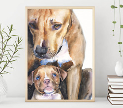 Pit bull Mom Pit bull Puppy Mom and baby dog Watercolor Dog Mom GiftTerrier