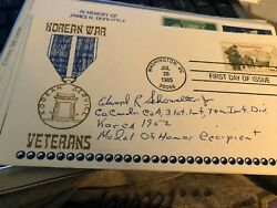 Edward Schowalter Medal Of Honor Moh Korean War Autograph Signed Cover