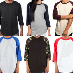 Baseball Raglan T Shirt 34 Short Sleeve Men Women Camo Plain Solid Jersey Tee
