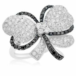 Large 1.85ct White And Black Diamond 18k White Gold Butterfly Flower Bow Love Ring
