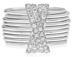 Estate Wide .60ct Diamond 14kt White Gold 3d Multi Ring X Love Stackable Ring