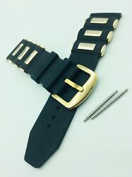 26mm Russian Diver Silicon Black Rubber Watch Strap Gold Buckle Band