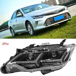 Turn Signal Led Headlight Drls Bi Xenon Projector Lens Fit For Toyota Camry 2015