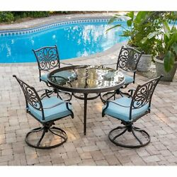 Aluminum 5 Piece Dining Set With 48 Glass Τop Round Table Swivel Rocking Chairs