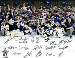 Stanly Cup 2019 Champions St Luis Blues Team Sign Celebration 8.5 X 11 Photo