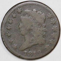 1812 1c Classic Head Large Cent Unslabbed