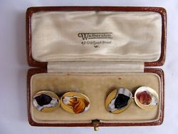 Magnificent 1900 Pair Of Old English 9k Enamel Gold Cufflinks With Original Box