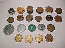Large Lot Of 62 Vintage Rare Assorted Arcade Brass And Metal Tokens