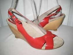 336 Anyi Lu Red Patent Leather Wedge Slingback Sandals Shoes Size 40 / 9.5