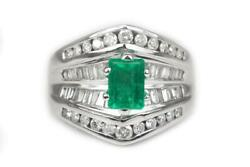 2.60tcw Spectacular Engagement Cocktail Emerald And Diamond Ring 14k Gold