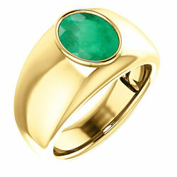 2.50 Carats Oval Cut Natural Colombian Emerald Solitaire Ring Gold 18k