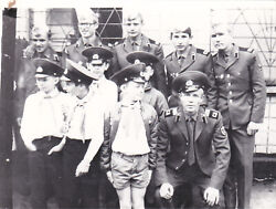 1970s Handsome Young Men Soldiers W/ Cute Boys In Hats Army Soviet Russian Photo