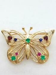 14K Yellow Gold Crystal Butterfly Brooch (AP1060803)