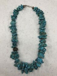 Turquoise Necklace Super Chunky. Graduated Polished Stones With Silver Bead