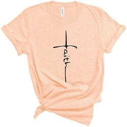 Faith T Shirt Vertical Cross Graphic Tees Christian Shirts for Religious Gift