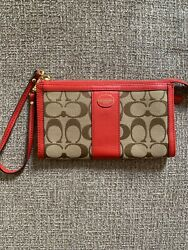 Signature Coach wristlet brown and salmon $40.00