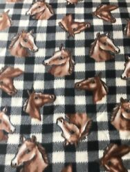 """By The Yard 60"""" Wide Vintage Fleece Fabric New Horses amp; Houndstooth Plaid"""