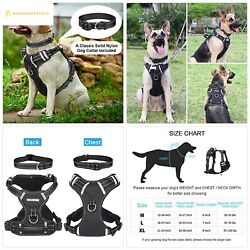 WINSEE Dog Harness No-Pull Pet Harness with Dog Collar FrontBack Leash Clips