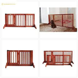 Simply Plus Deluxe Wooden Pet Gate Freestanding Pet Dog Gate for Indoor Home O