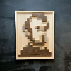"""Minimalist Abstract Wood Sculpture Pixel Lincoln 30""""x24"""" Signed"""
