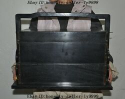 Huge Chinese Black Rosewood Wood Hand Carved Statue Lunch Boxes Food Containers