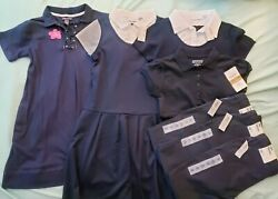 Lot Of 7 Girls Uniform Dress Pants Polo-old Navy Childrens Place - Navy 8-12