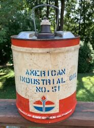 """Vintage 50's American Standard Oil Old Tin Metal Can 5 Gallon 10x14""""made In Usa"""