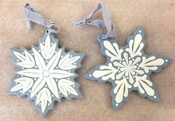 Snowflakes Ornaments Blue And White Ceramic ...christmas 4.25 Set Of 2