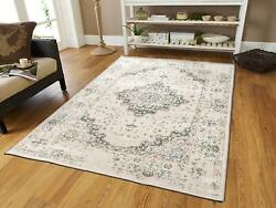 Traditional Distressed Area Rug 8x10 Large Rugs for Living Room 5x8 Gray Ivory
