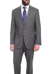 Mens 44r Napoli Classic Fit Gray With Blue And Purple Glen Plaid Half Canvassed...