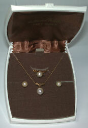 Nos Antique 14k Yellow Gold Matching Gen Pearl Earrings Ring And Pendant Set X114