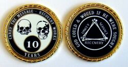 Alcoholics Anonymous 10 Yr. Skulls And Bones Rope Edge Sobriety Coin Chip 1 3/4