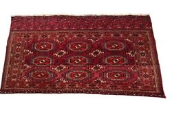 Antique Exceptional Turkoman Tapestry Wall Hanging And Rug 3x5 Red 1910 Boho