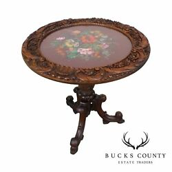 Renaissance Revival Antique Hand Carved Walnut Round Table W/ Beeded Needlework