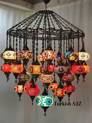 Turkish Mosaic Chandelier With 37 Large Globes Id 144