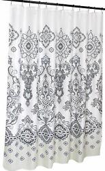 CNY Home Decorative Fabric Shower Curtain: Eclectic Floral with Border Grey Bei