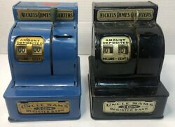 Ww Ii Era Antique 2 Uncle Sam's 3 Coin Register Bank Black And Blue